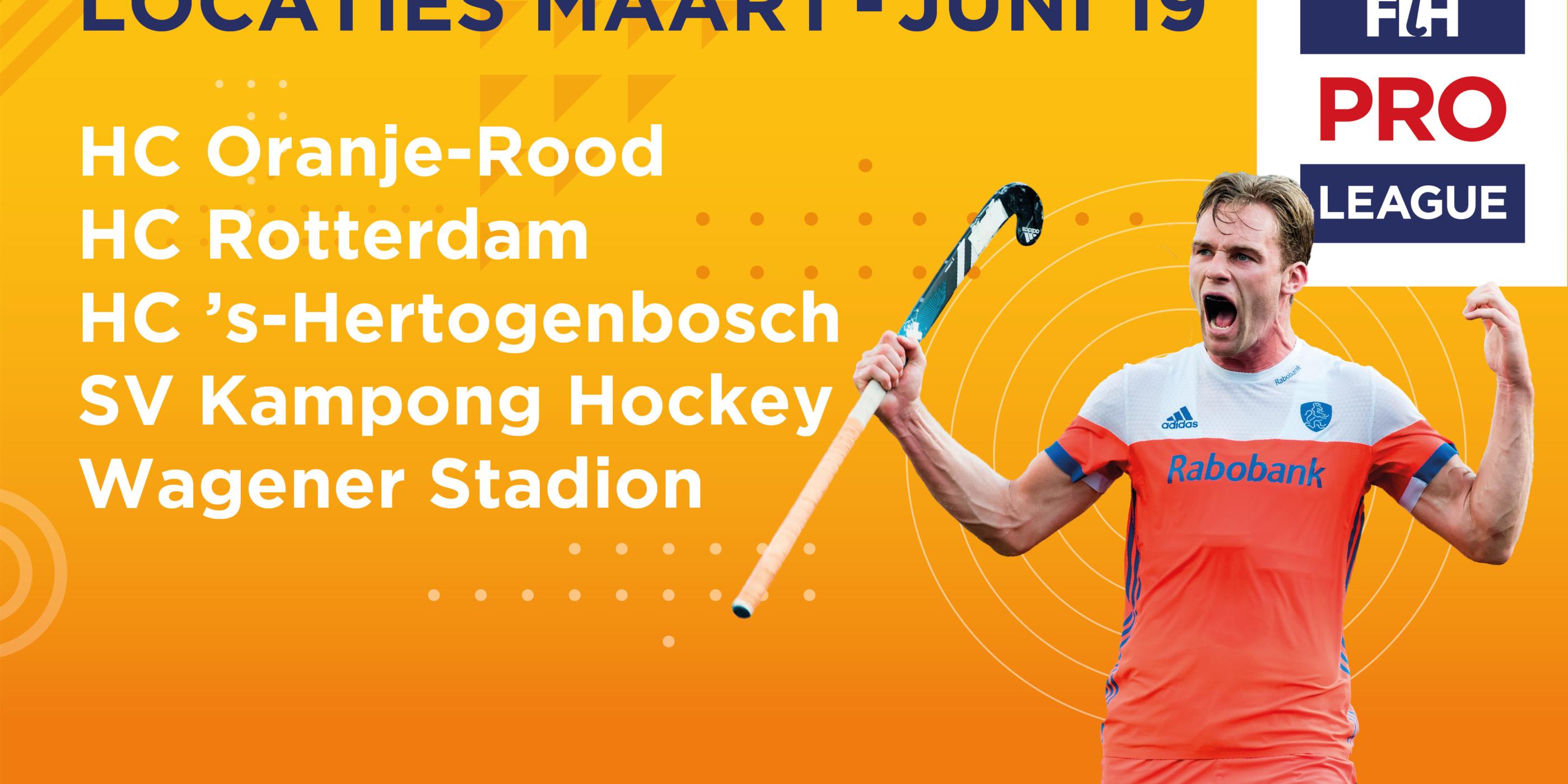 Locaties wedstrijden FIH Pro League in Nederland bekend